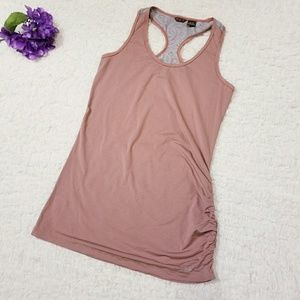 Long athletic tank top with lace and ruching